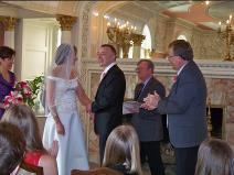 Ralph Fishburn performing wedding for a California couple at Patsy Clarks Mansion.